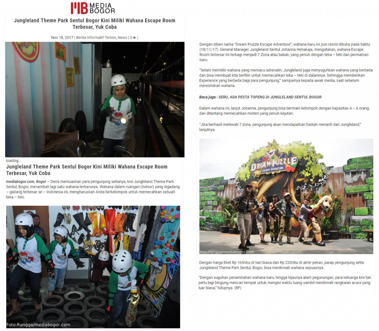 Media Clipping Pt Bakrieland Development Tbk Annual Pass Jungle Land Sentul Jungleland Theme Park Bogor Kini Miliki Wahana Escape Room Terbesar Yuk Coba